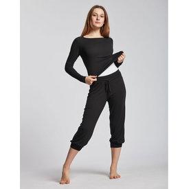 Temps Danse Bakara Yoga Dans Broek Driekwart met trekkoord Bamboe viscose Zwart