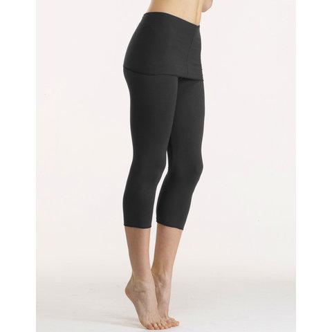 Balade Capri pants met lange tailleband bamboe zwart