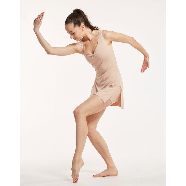 Temps Danse Violine Kort Dans Tuniek met Split Nude -Beige