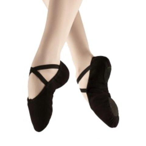 U2030 Canvas splitzool balletschoen zwart