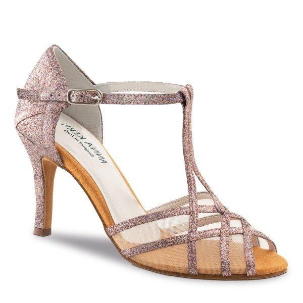 Anna Kern Dansschoenen 870-75 Roze Multi Glitter/Mesh 7.5cm