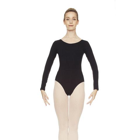 3983 Balletpak Lange Mouw Hoge ronde hals Katoen Zwart