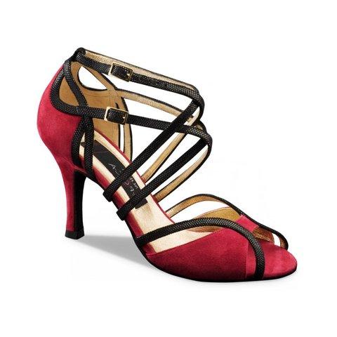 Dansschoenen Cosima Rood/Zwart Suède 7cm