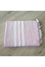 Lalay Hamam doek XL - Roze met brede witte strepen
