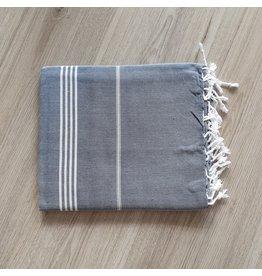 Lalay Hamam doek - Marine met fijne witte strepen