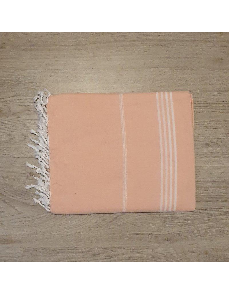 Lalay Hamam doeken - Zalm roze met fijne witte strepen