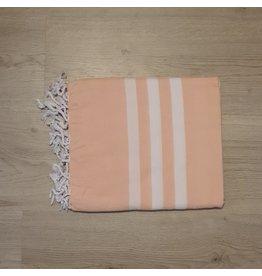 Lalay Hamam doeken - Zalm roze met brede witte strepen