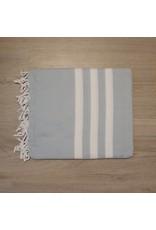 Lalay Hamam doeken - Grijs blauw met brede witte strepen
