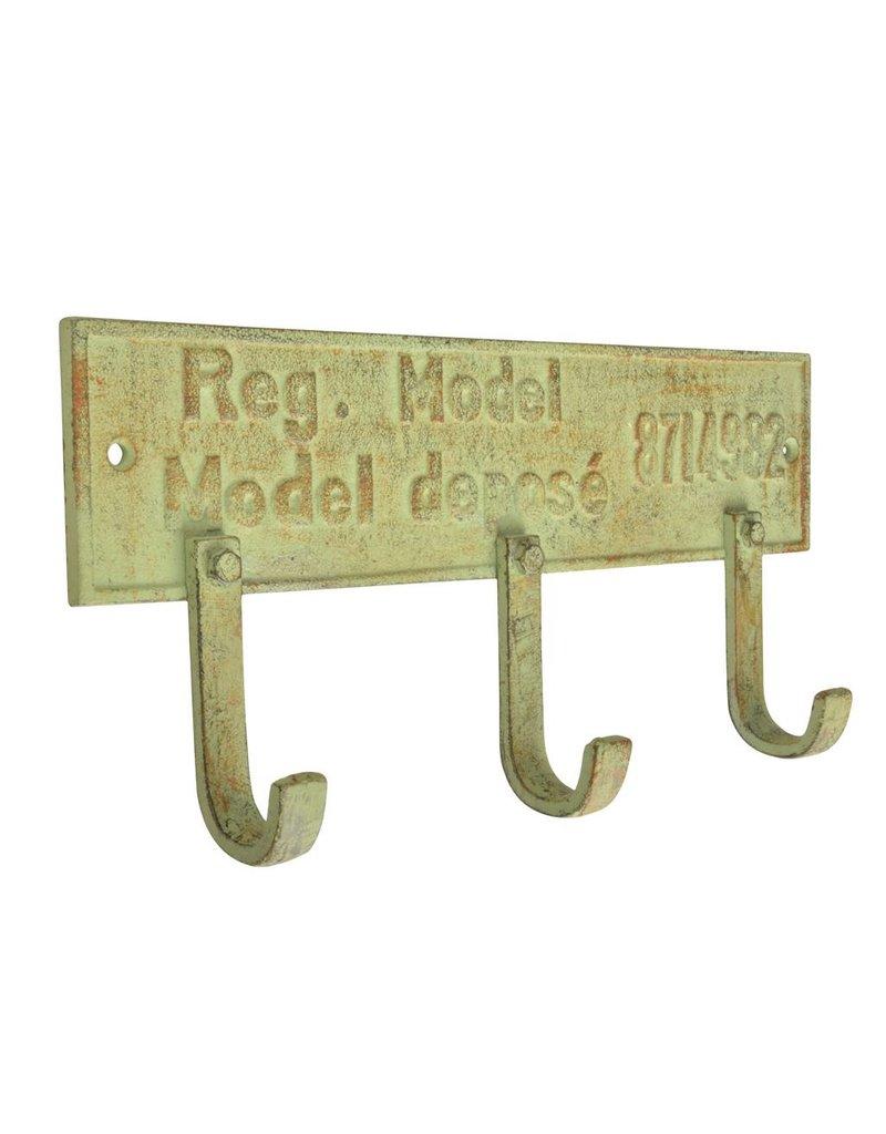 Esschert Design Industrial Heritage - 3 haken op wandplaat
