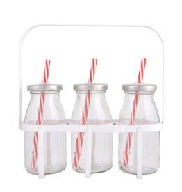 Esschert Design 3 flesjes met rietjesdeksel in kratje