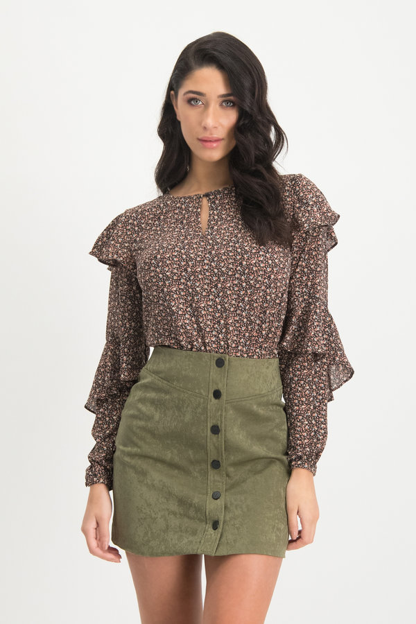 Green Black Blouse Top Laura