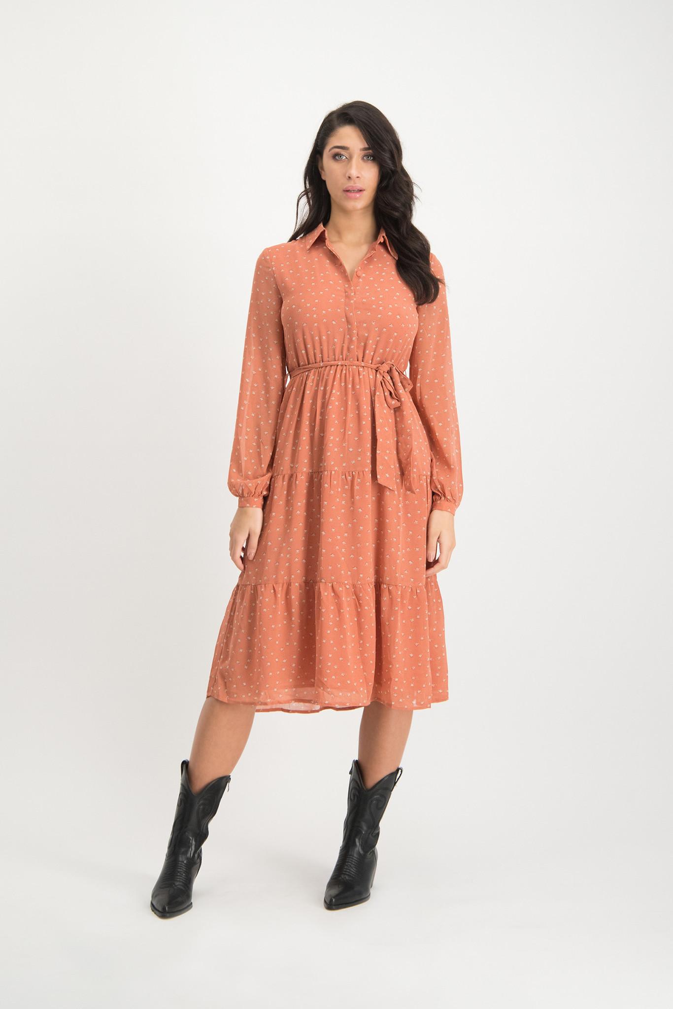 Lofty Manner Peach-colored Midi Dress Ellis