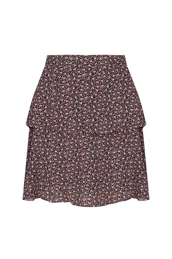 Lofty Manner Black Green Floral Print Skirt Neva