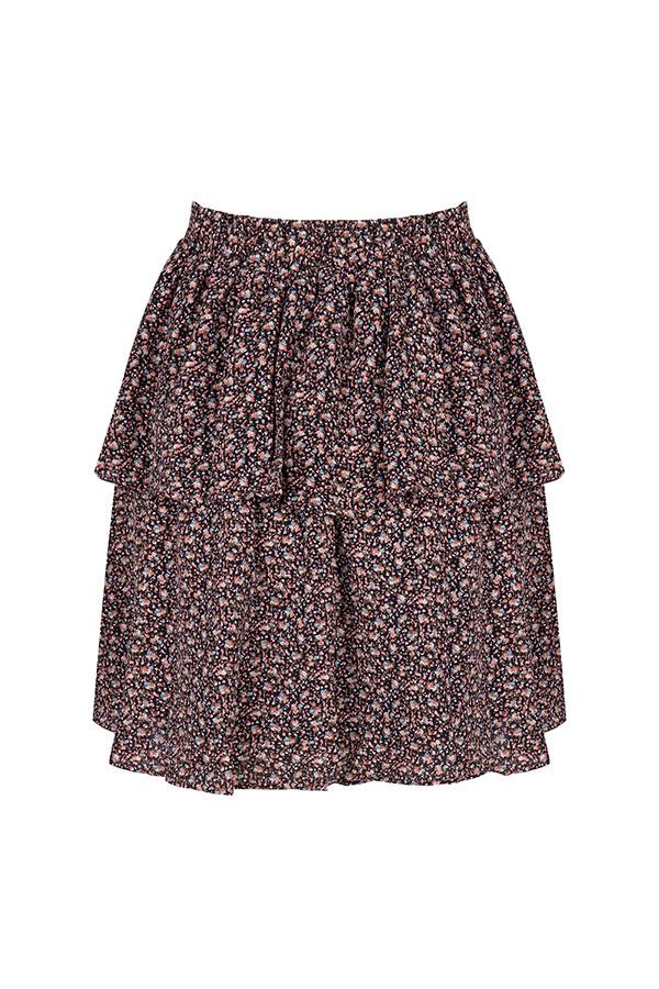 Black Green Floral Print Skirt Neva