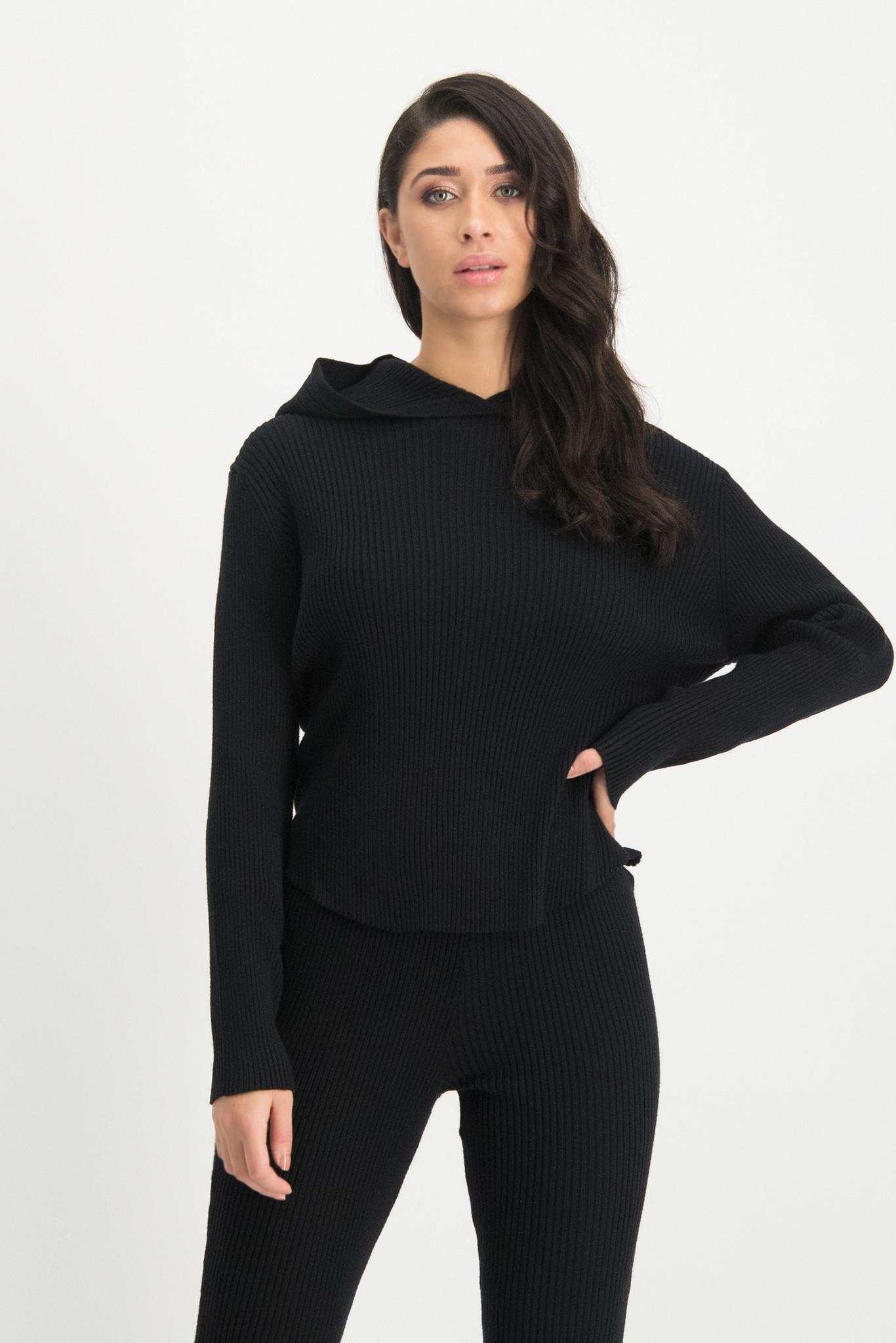Lofty Manner Zwarte Sweater Capuchon Yasmine