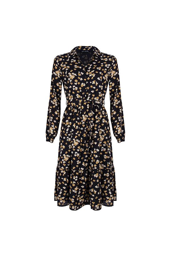 Lofty Manner Gele Bloemenprint Midi Dress Ellis
