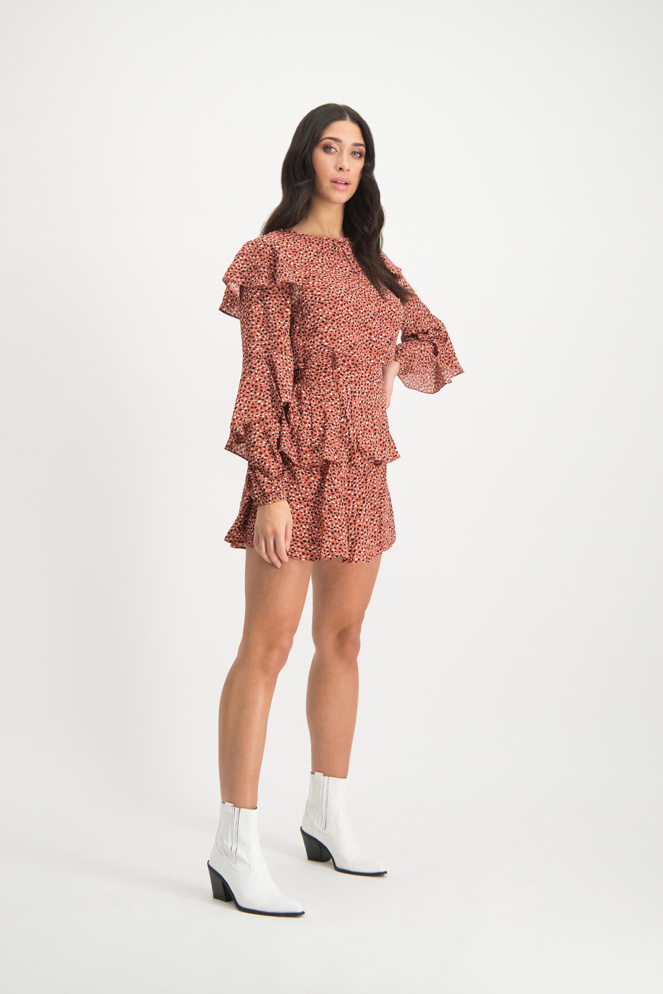 Lofty Manner Black-Pink Animalprint Skirt Neva