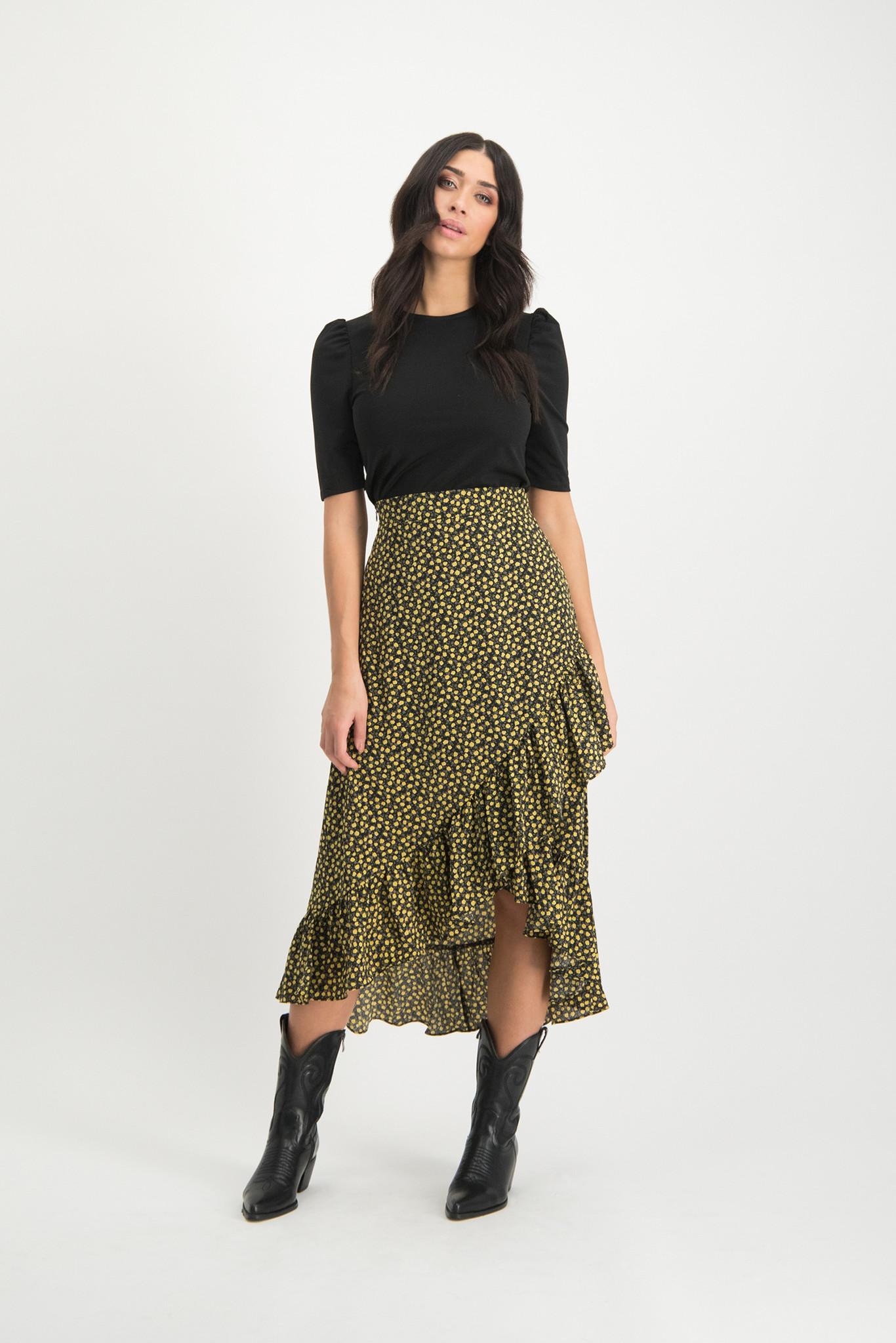 Lofty Manner Gele Midi Skirt Lyna