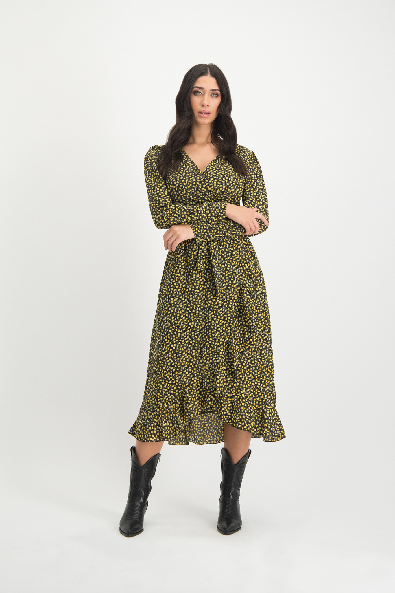 Lofty Manner Gele Bloemenprint Maxi Jurk Irma