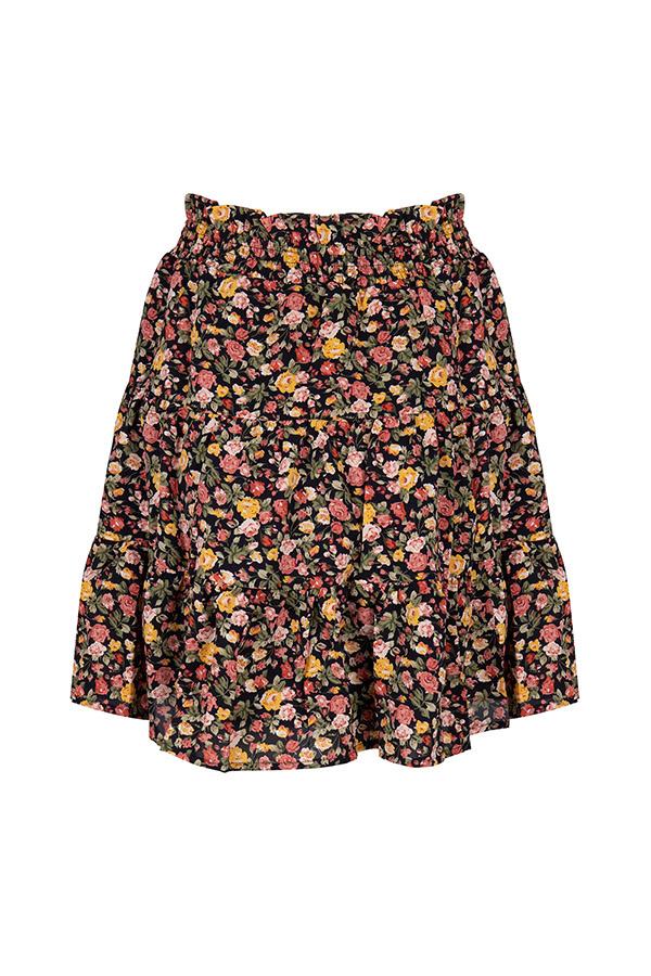 Lofty Manner Yellow Floral Print Mini Skirt Otilia