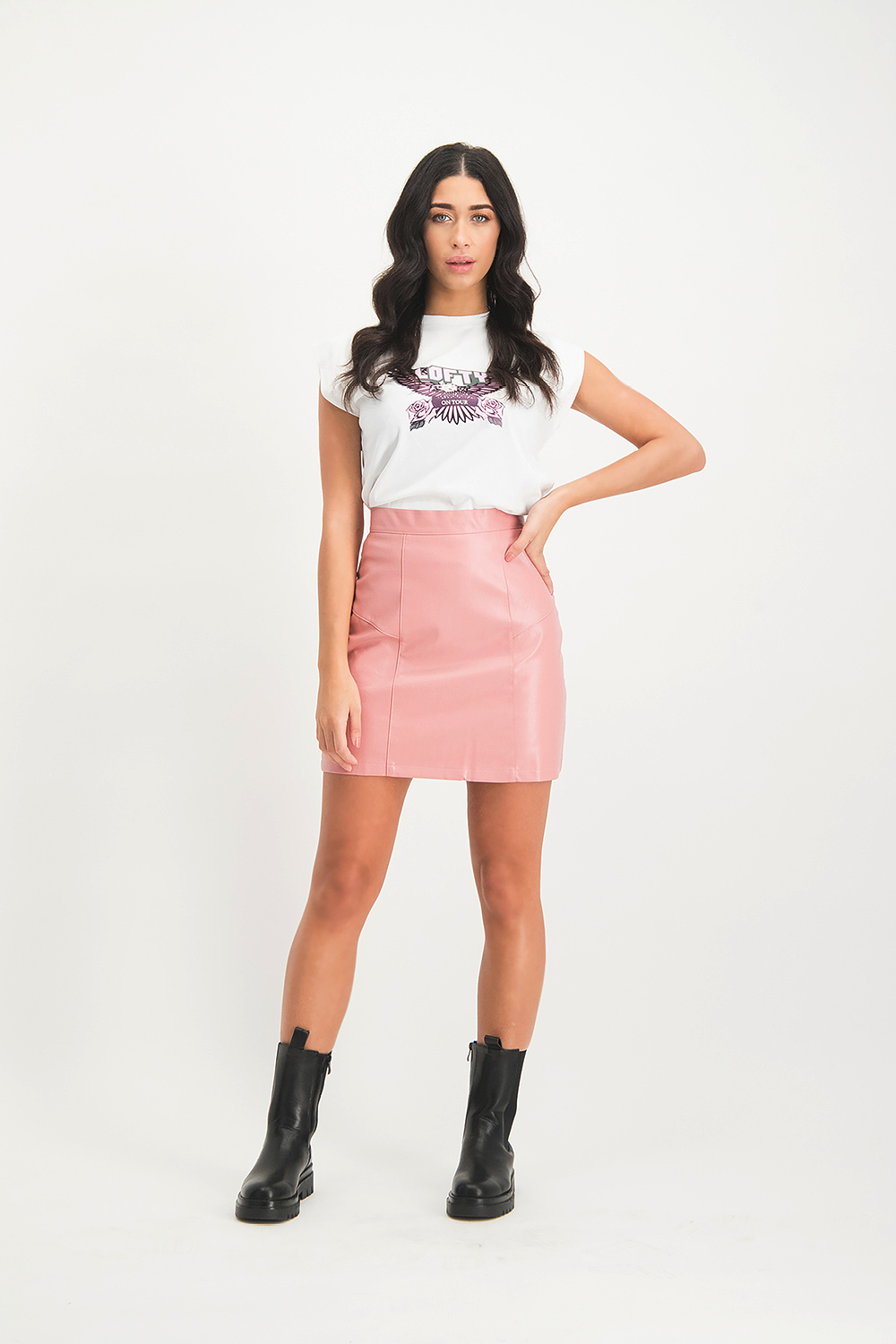 Lofty Manner Pink Leather Skirt Melody