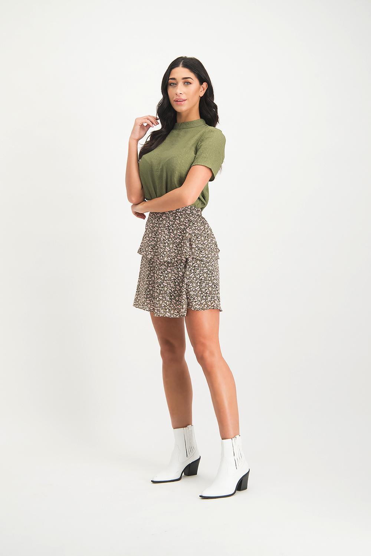 Lofty Manner Green Floral Print Skirt Alita
