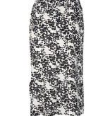 Lofty Manner Zwart Witte Bloemenprint Midi Rok Sage