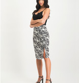 Lofty Manner Black White Floral Print Midi Skirt Sage