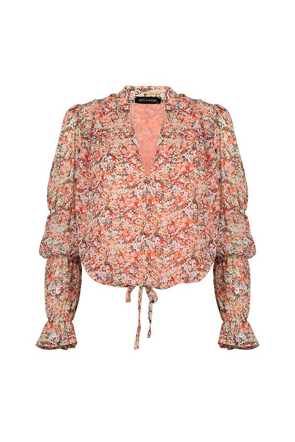 Lofty Manner Peach Floral Print Blouse Carla
