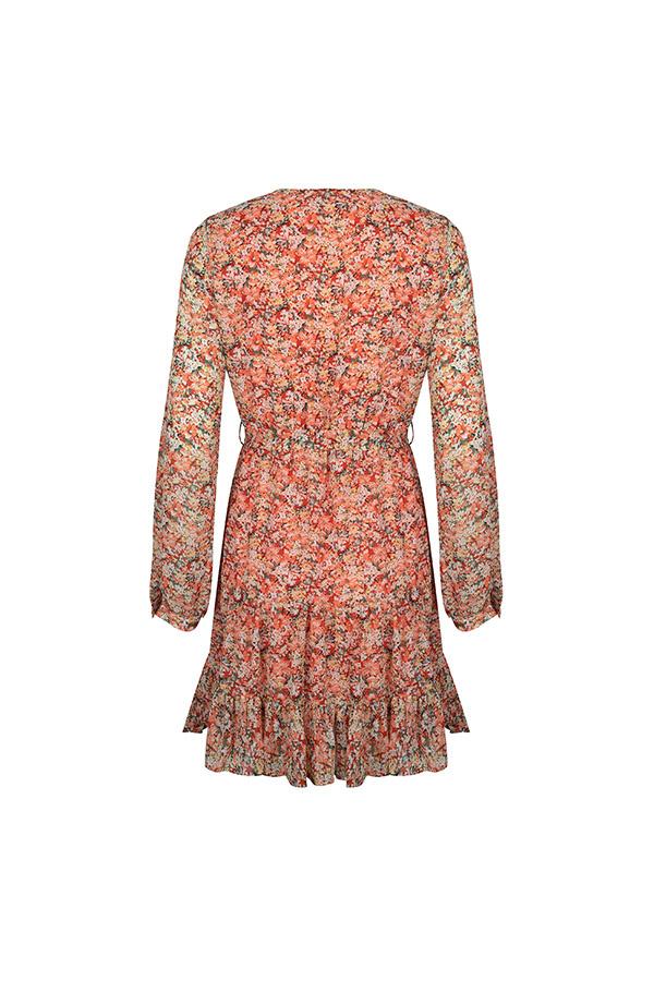 Lofty Manner Peach Floral Print Dress Donya