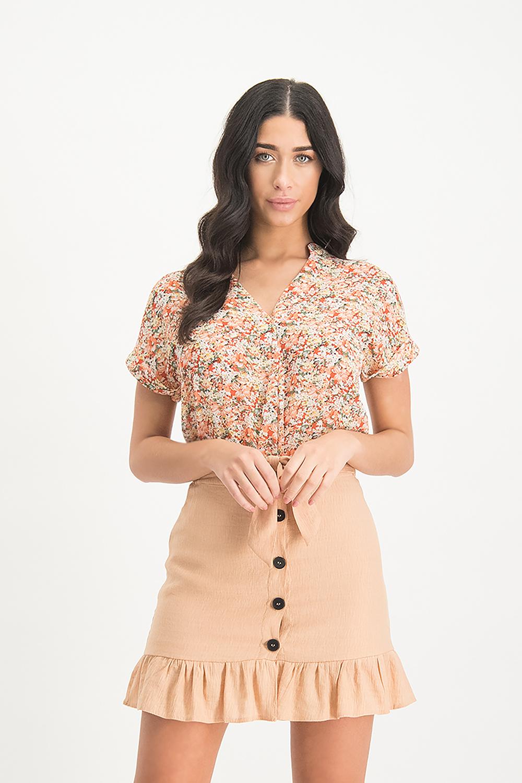 Lofty Manner Peach Floral Print Top Yoana