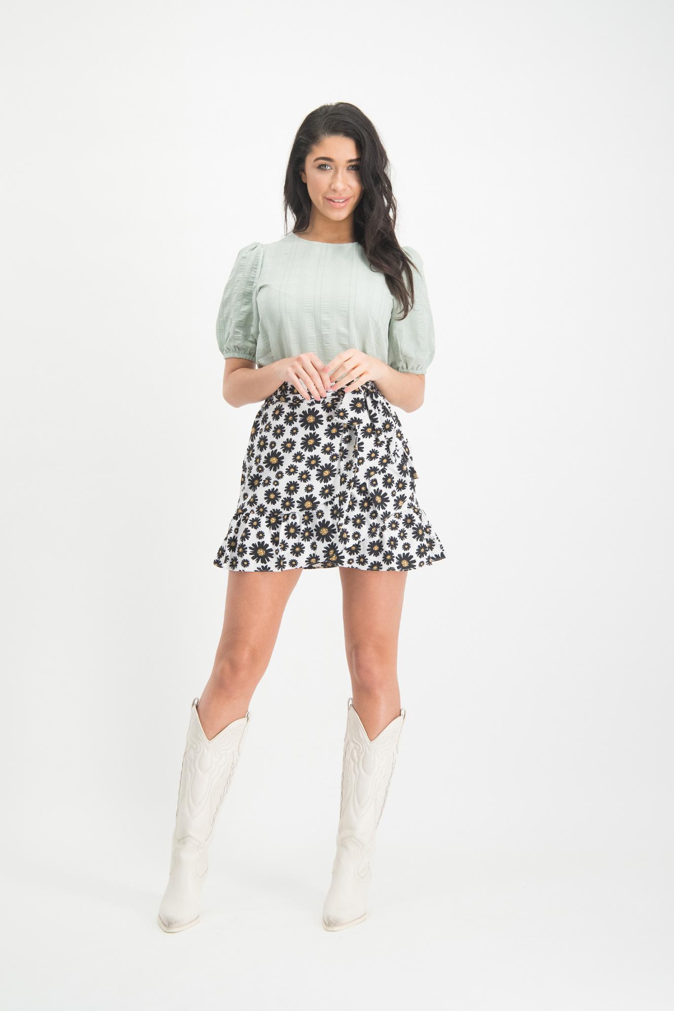 Lofty Manner White Floral Print Skirt Loise
