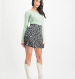 Lofty Manner Black Floral Print Skirt Matylda