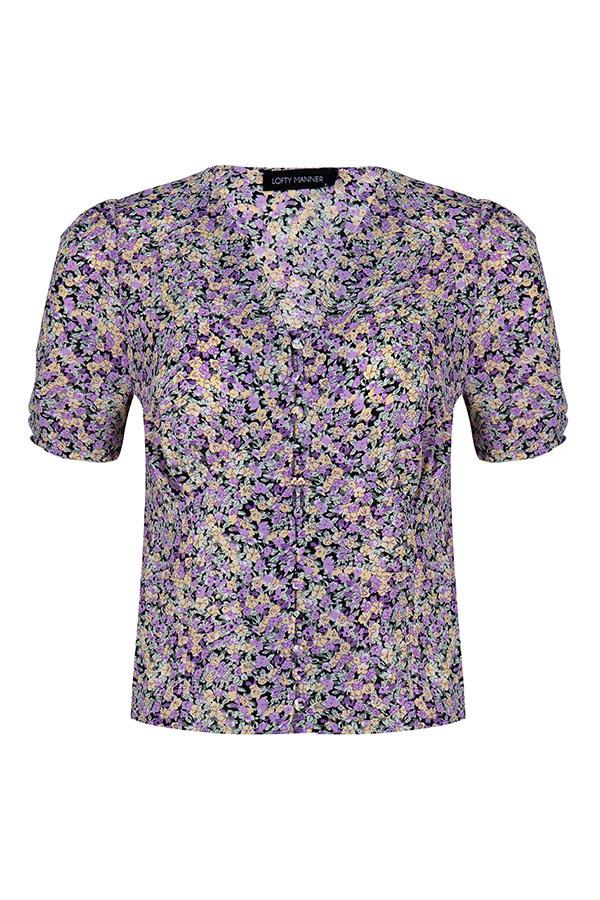 Lofty Manner Purple Floral Print Top Juniper