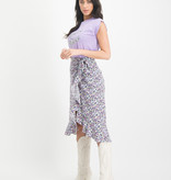 Lofty Manner Purple Floral Print Skirt Lorelai