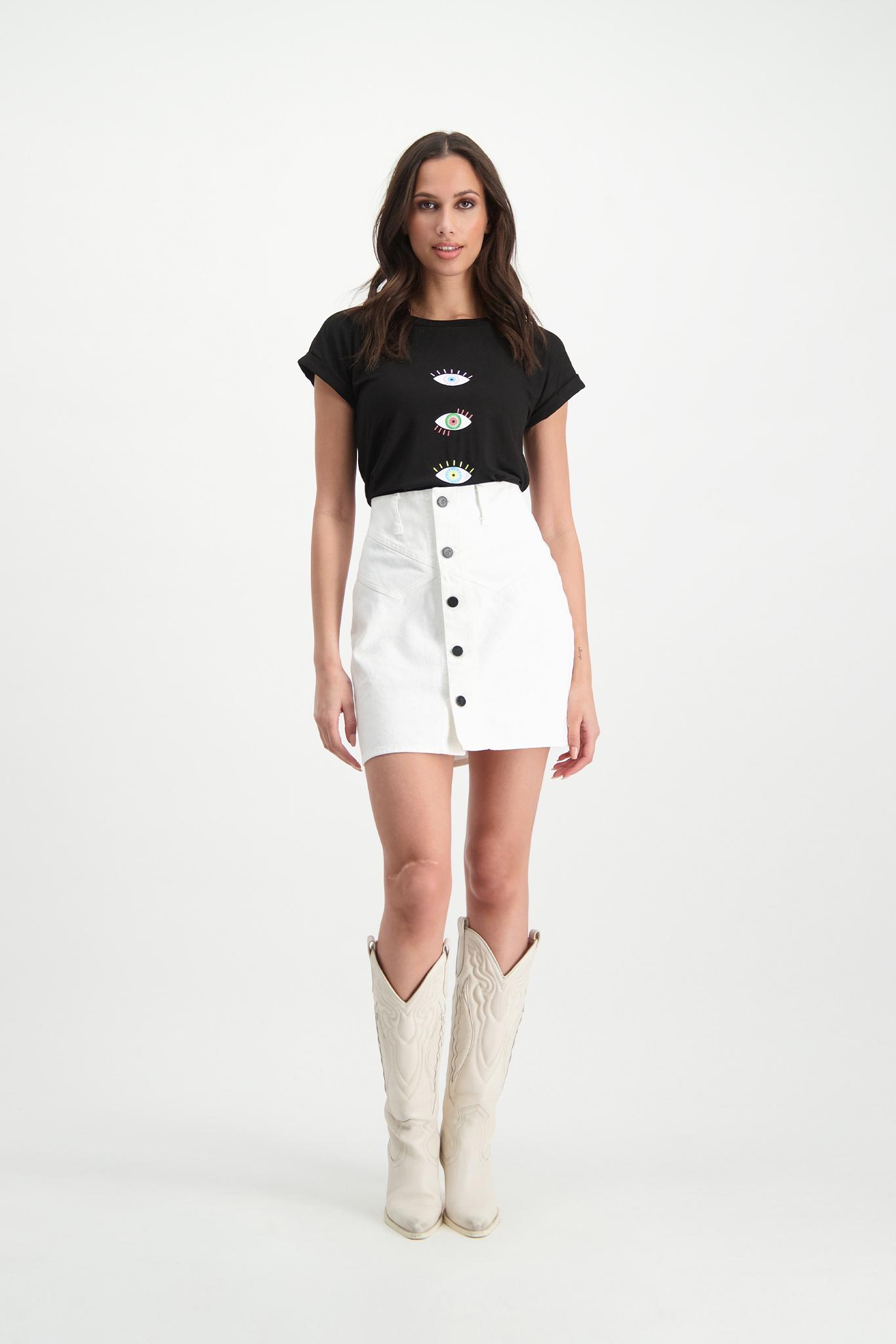 Lofty Manner White Denim Skirt Kinza