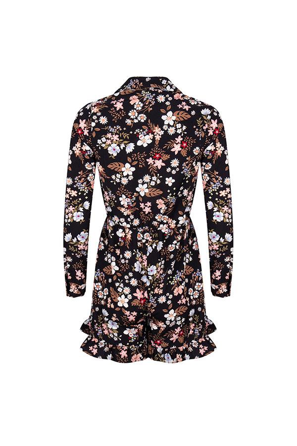 Lofty Manner Black Floral Print Playsuit Vesper