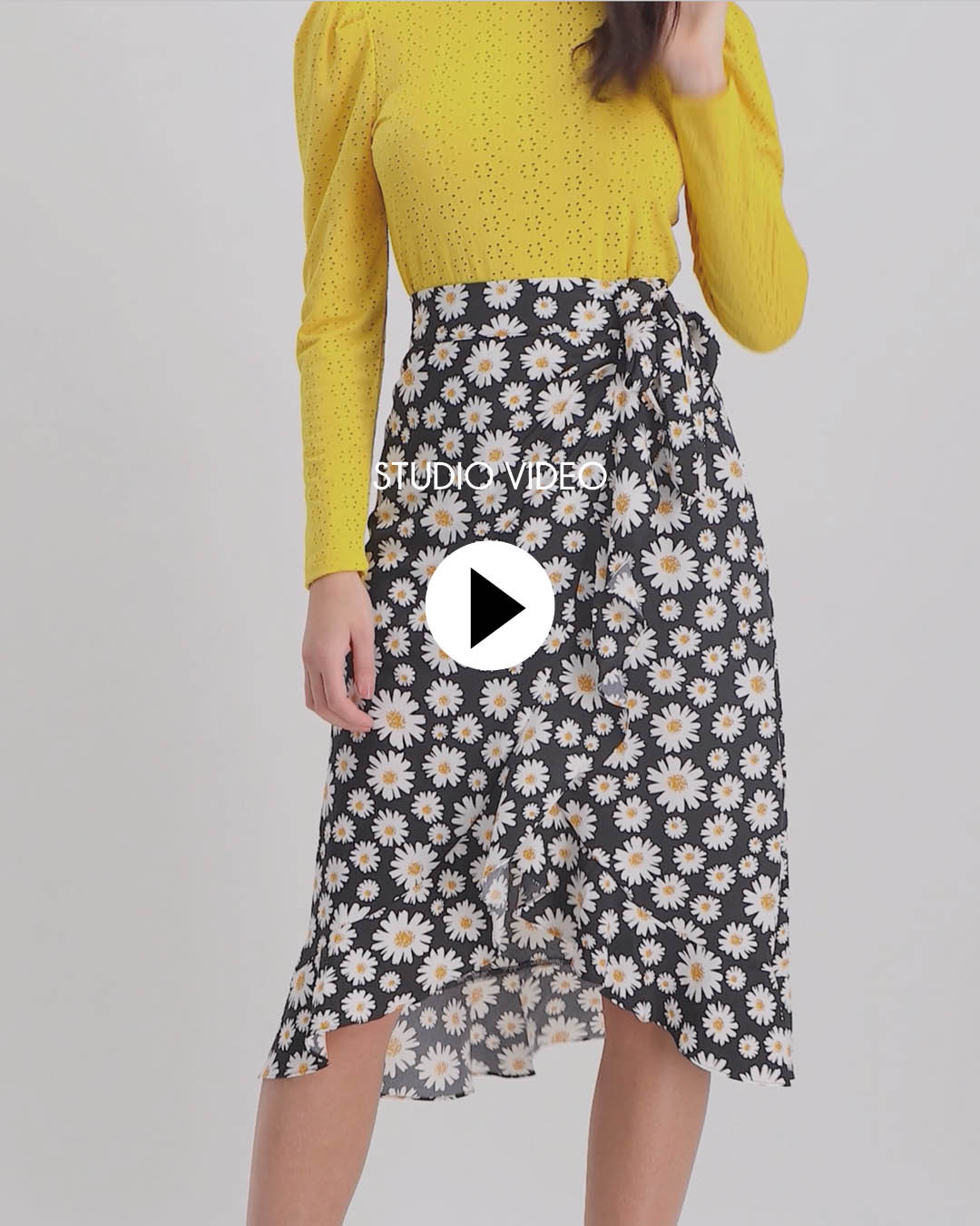 Lofty Manner Zwarte Bloemenprint Rok Lorelai