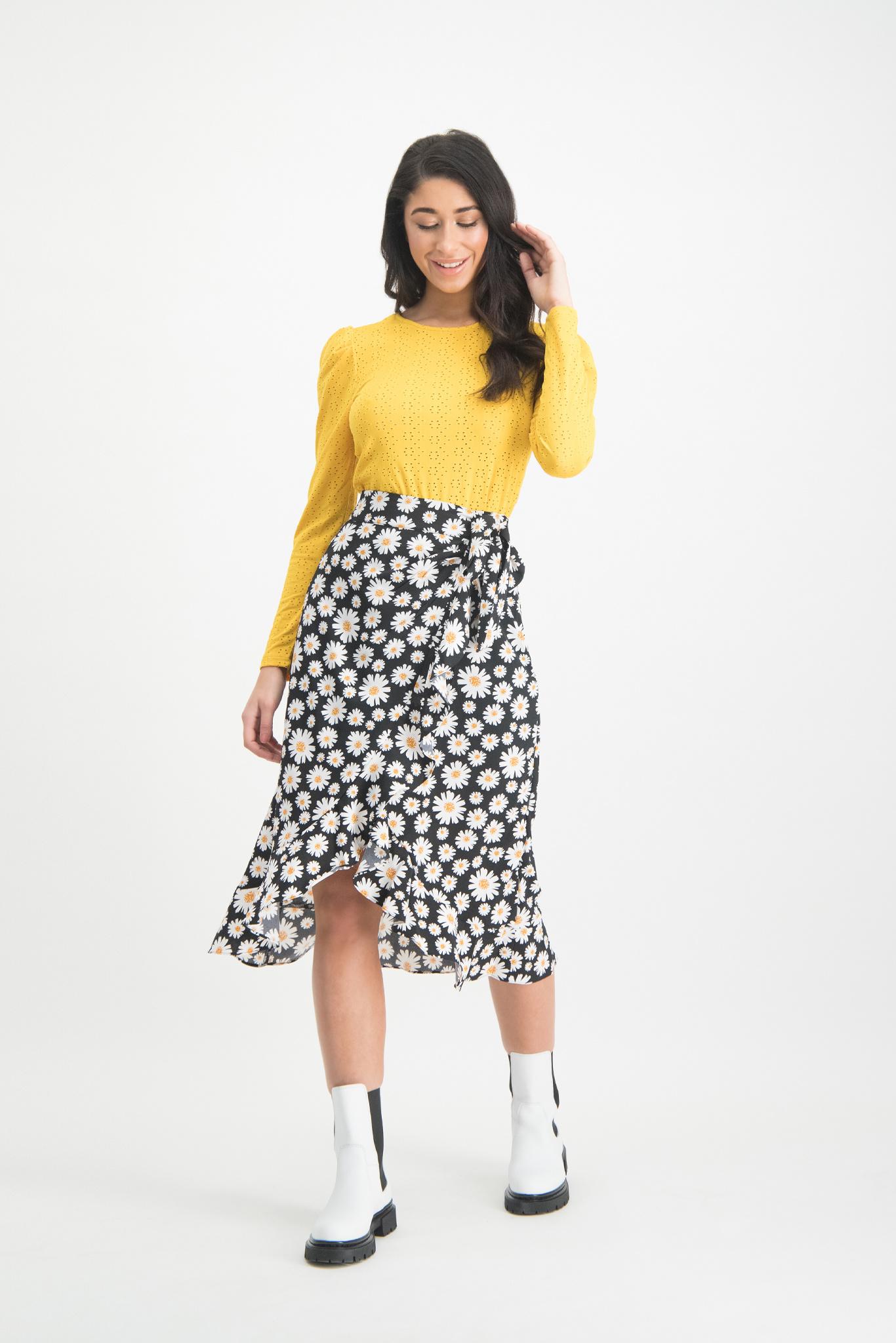 Lofty Manner Black Floral Print Skirt Lorelai
