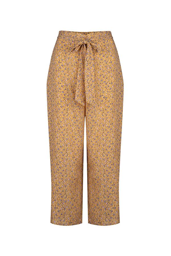 Lofty Manner Yellow Floral Print Pants Aliz