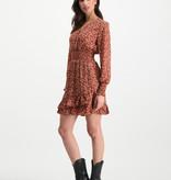 Lofty Manner Rust Brown Floral Print Dress Ava