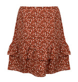 Lofty Manner Oranje Bloemenprint Mini Rok Ciara