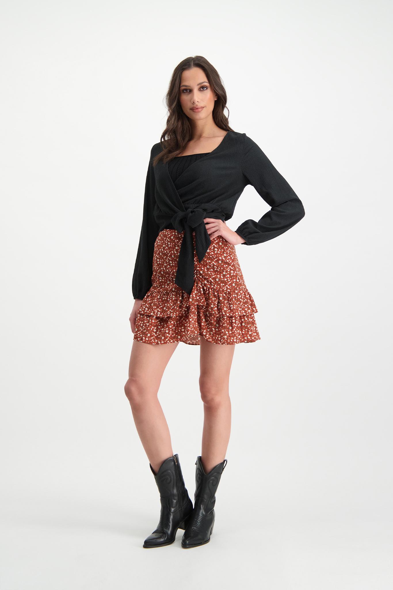 Lofty Manner Orange Floral Print Mini Skirt Ciara