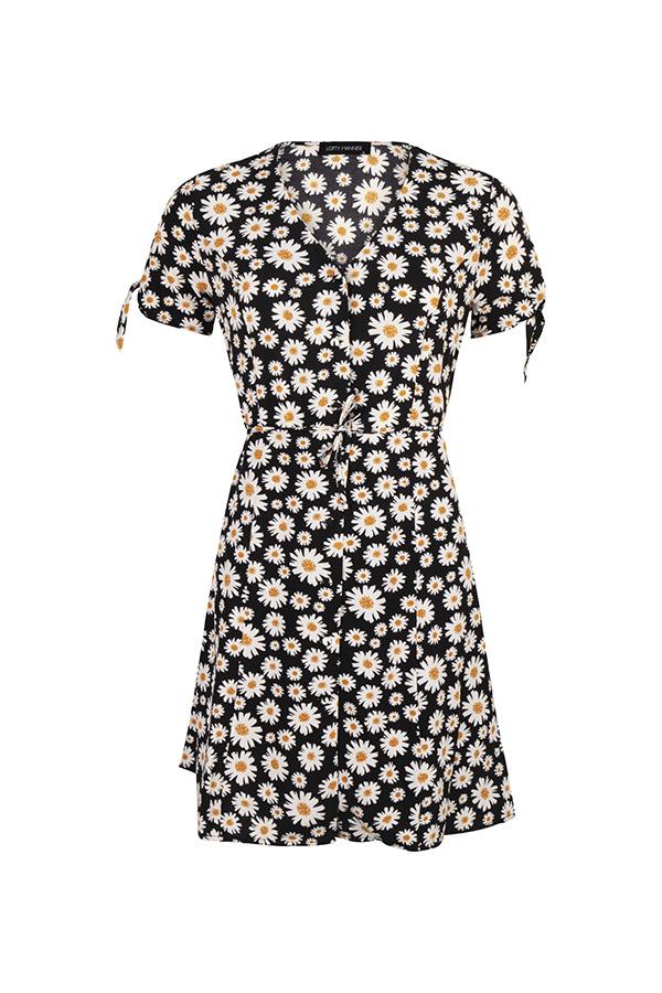 Lofty Manner Zwarte jurk met bloemenprint Hedwig