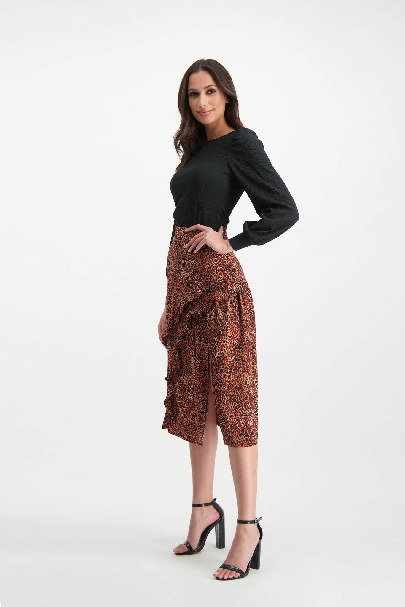 Lofty Manner Red Panther Print Maxi Skirt Evelyne