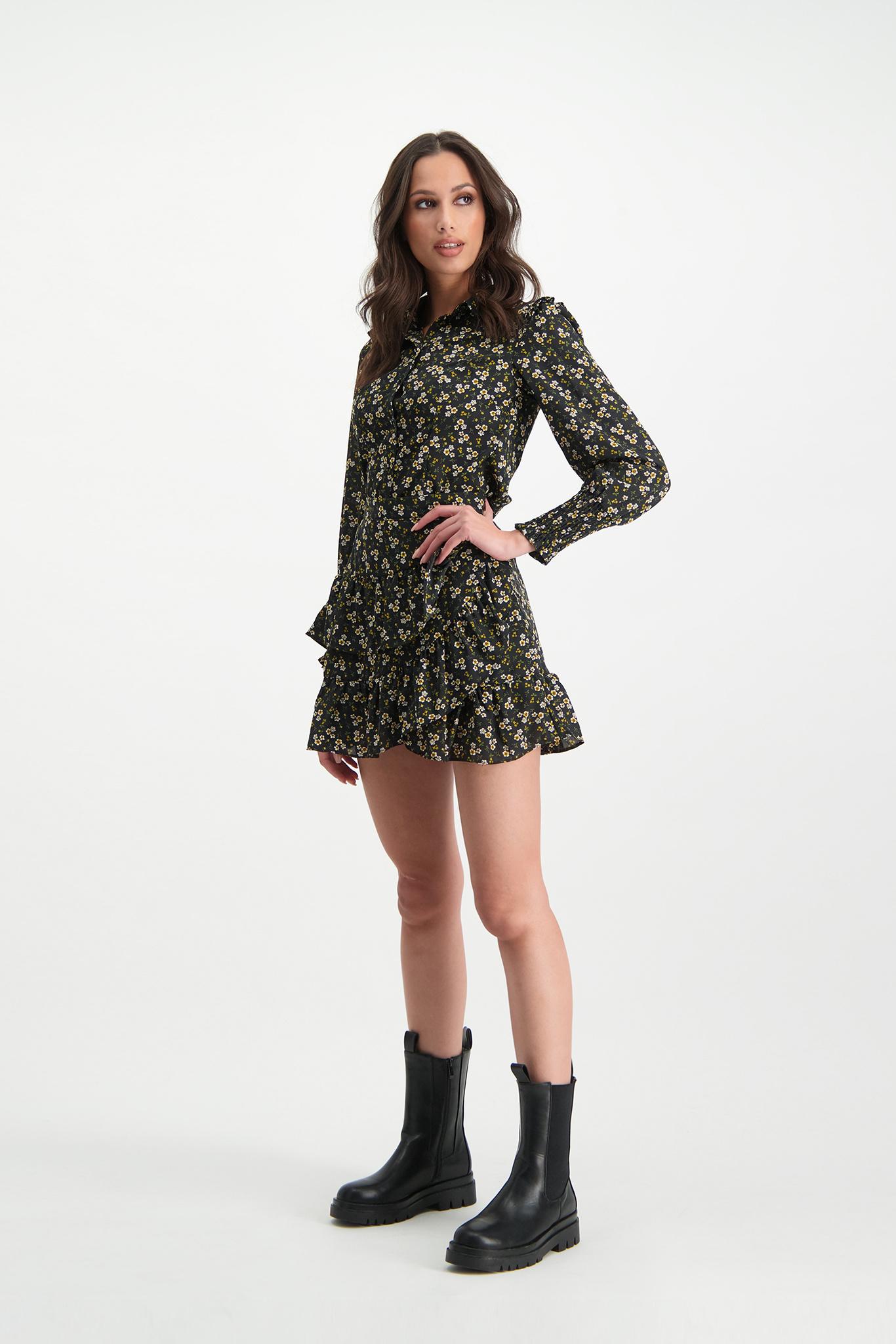 Lofty Manner Black & Yellow Floral Print Skirt Ivana