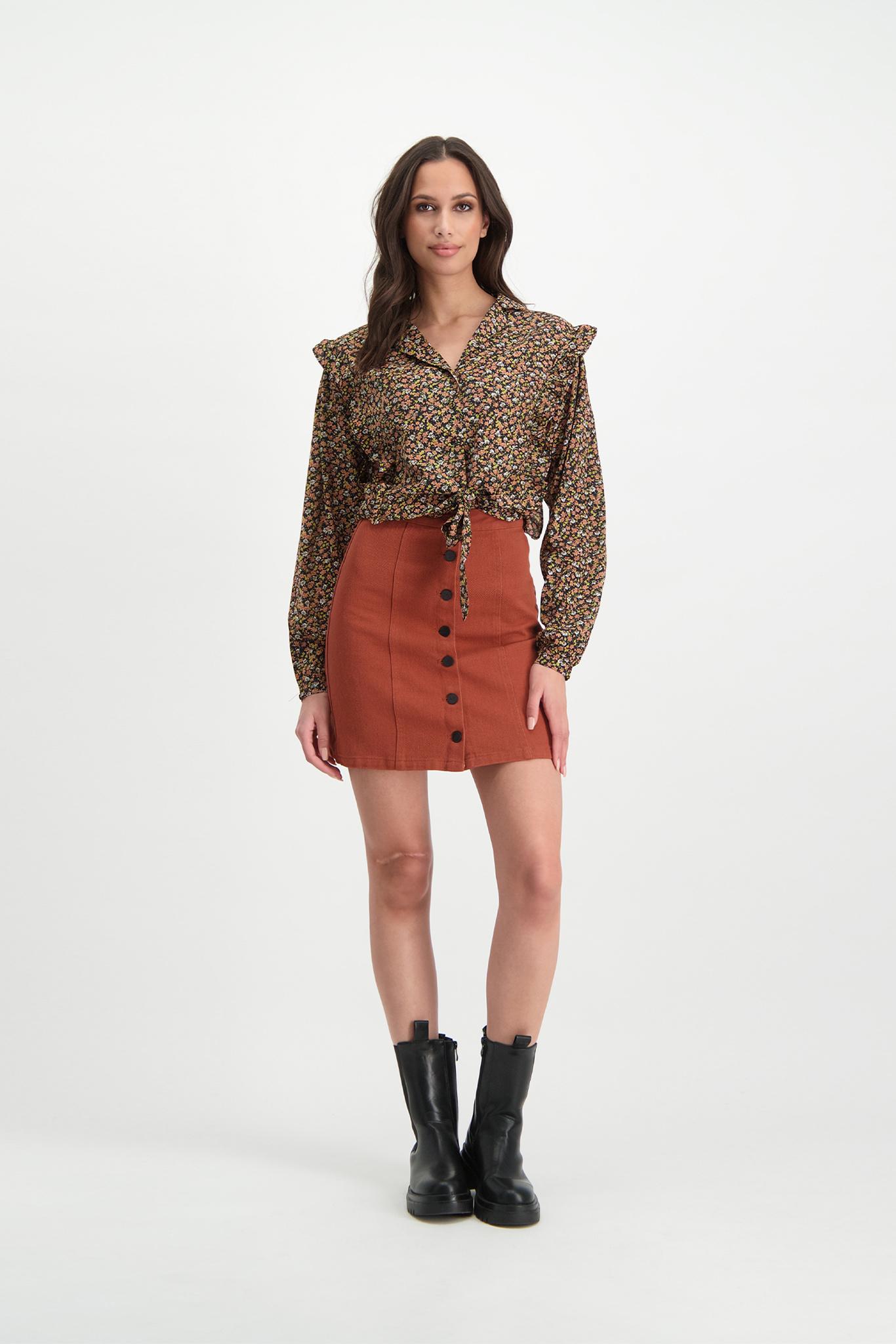 Lofty Manner Rust brown Denim skirt Janine