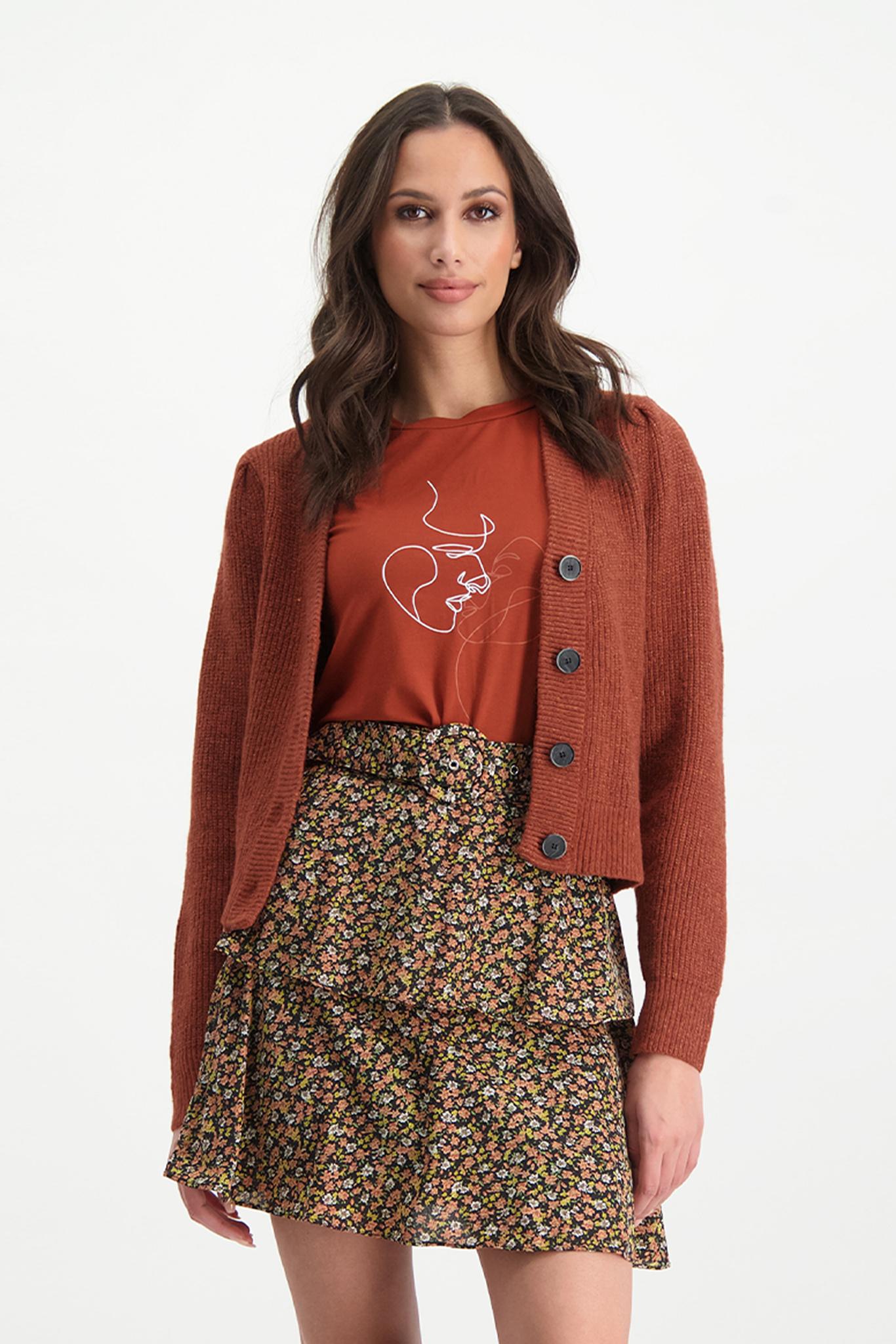Lofty Manner Orange Knitted Cardigan Daphne
