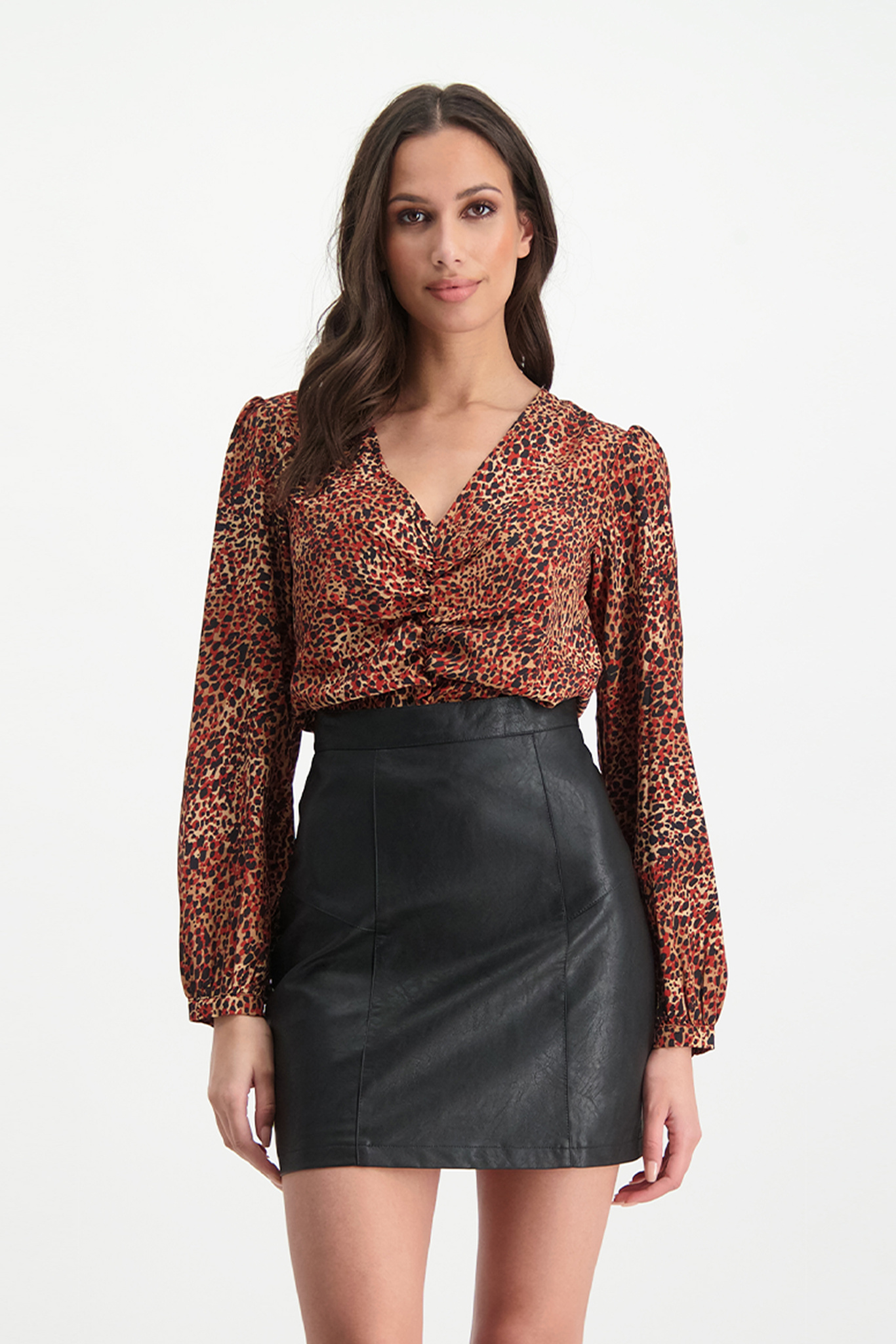 Lofty Manner Red Panther Print Top Caitlin