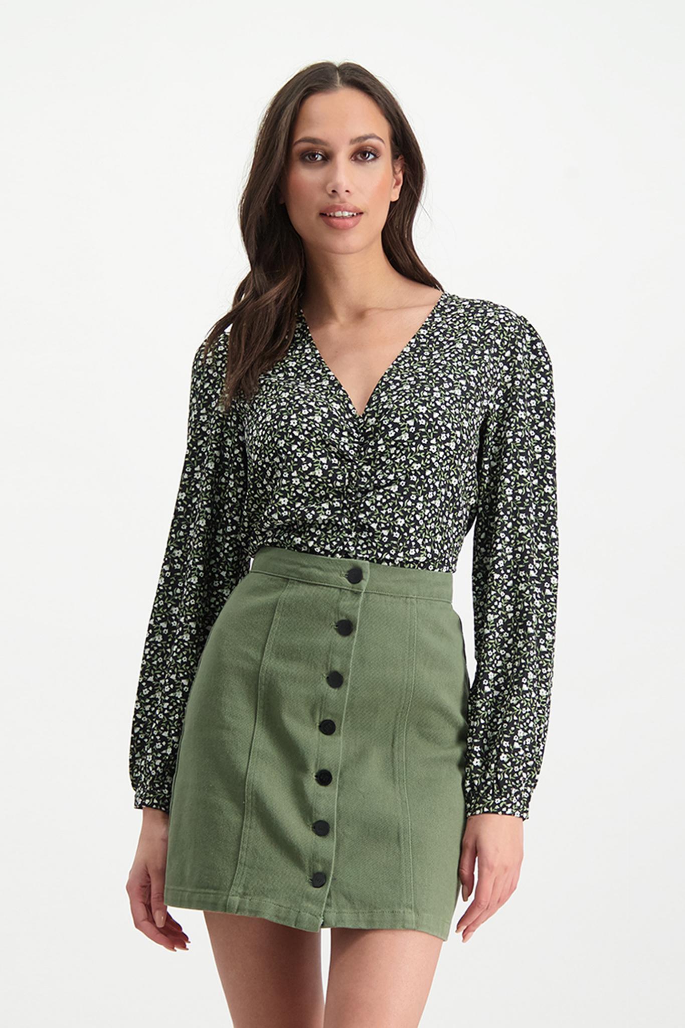 Lofty Manner Zwart groene Bloemenprint Top Caitlin